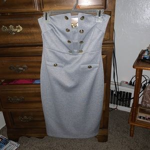 Grey w/ Gold Button Accents Strapless Dress